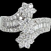 2.95ct Diamond Flower Cluster Ring Vintage 18 Karat White Gold Estate Fine Jewelry