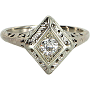 Vintage Art Deco Diamond Ring Estate 14 Karat White Gold Estate Fine Jewelry Pre Owned