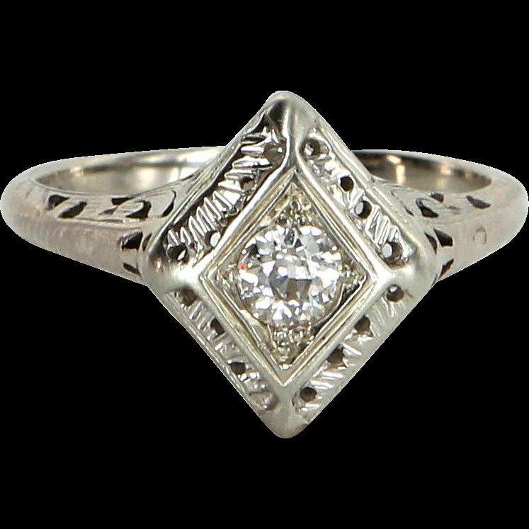 Vintage Art Deco Diamond Ring Estate 14 Karat White Gold Estate Fine Jewelry Pre Owned