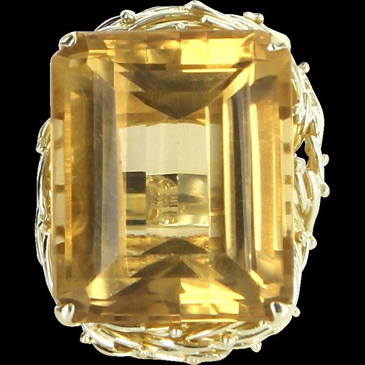 Large 40ct Citrine Cocktail Ring Vintage 14 Karat Yellow Gold Estate Fine Jewelry