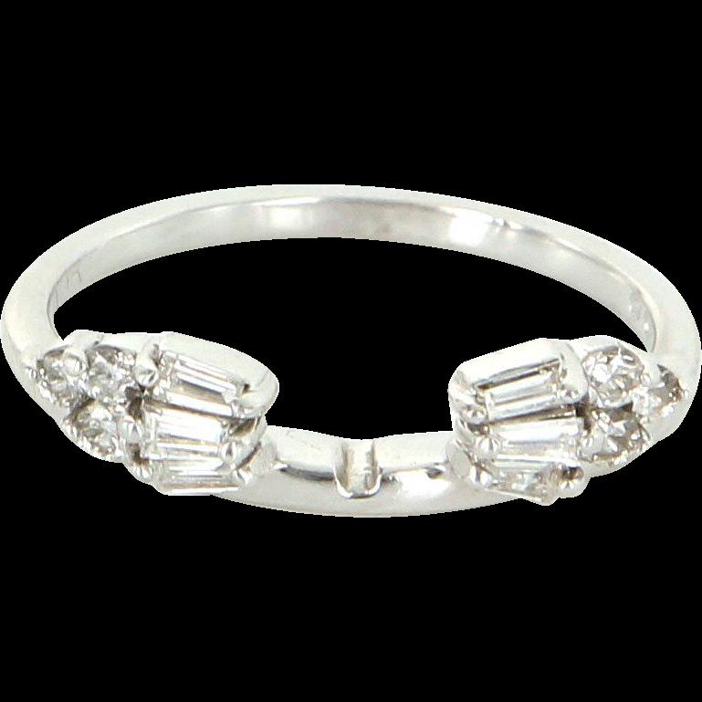 Diamond Wedding Ring Guard Wrap Vintage 14 Karat White Gold Estate Fine Jewelry 7