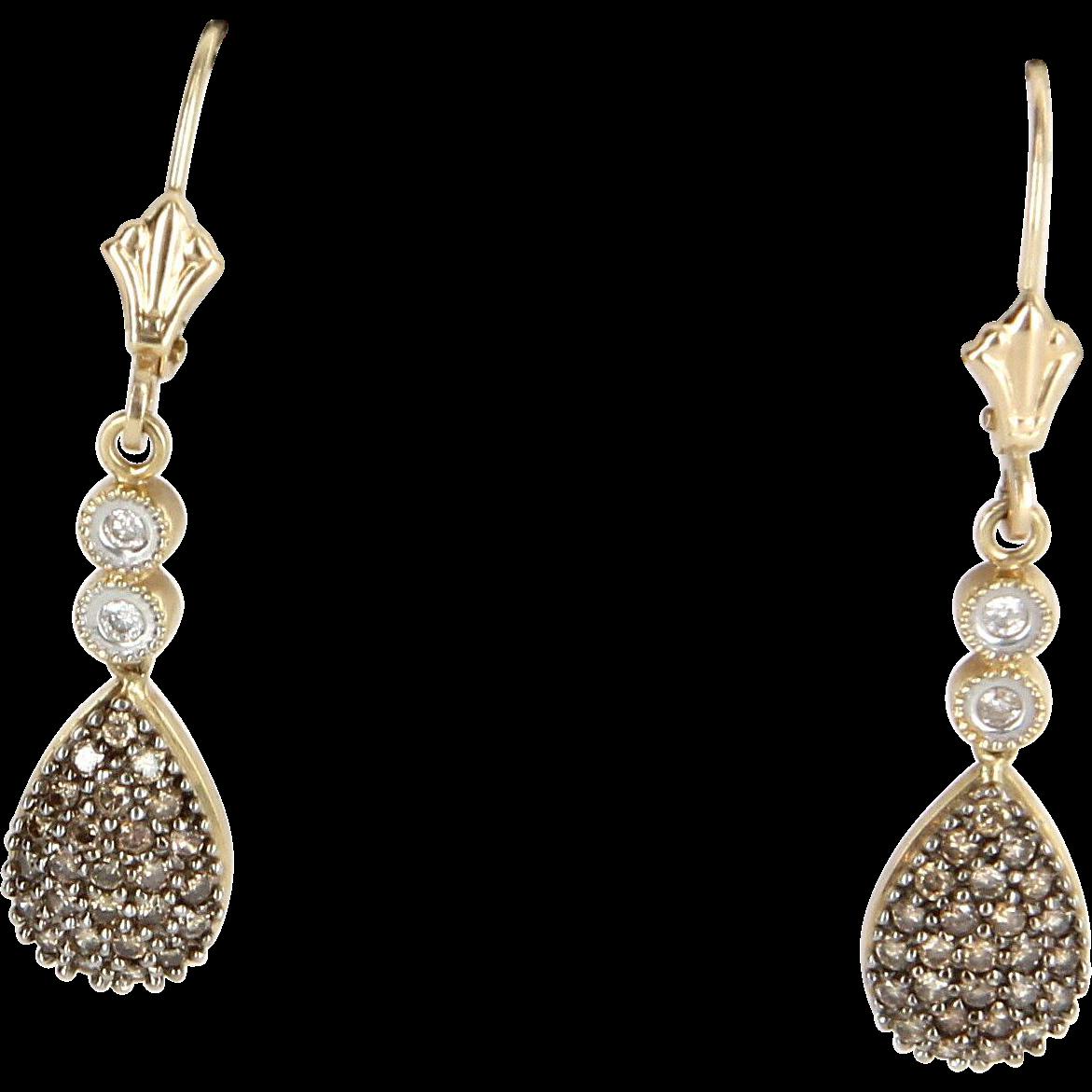chocolate diamond drop earrings vintage 14k yellow gold. Black Bedroom Furniture Sets. Home Design Ideas