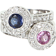 Bypass Ring Pink Sapphire Diamond Vintage 14 Karat White Gold Estate Fine Jewelry