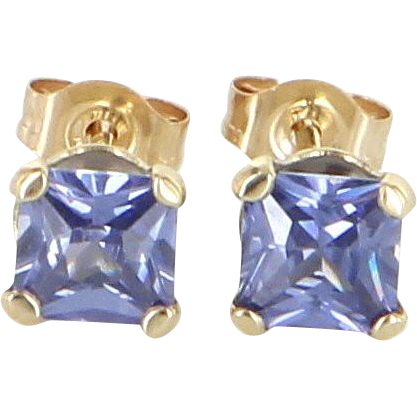 Cushion Cut Small 1/2ct Tanzanite Stud Earrings 10 Karat Yellow Gold Estate Jewelry