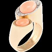 60s Angel Skin Coral Diamond Cocktail Ring Vintage 14 Karat Gold Estate Jewelry