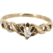 Antique Victorian Cushion Diamond Tulip Ring 14 Karat Gold Vintage Fine Jewelry 6.5