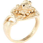 Frog on Lilypad Ring Vintage 14 Karat Yellow Gold Estate Fine Jewelry Pre Owned