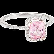 Natural Pink Padparadscha Sapphire Diamond Square Halo Ring Estate 14 Karat White Gold