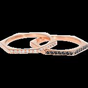 Black White Diamond Hexagonal Stacking Ring Set Vintage 14k Rose Gold Estate 7