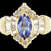 Vintage Tanzanite Diamond Cocktail Ring 14 Karat Yellow Gold Estate Fine Jewelry 7