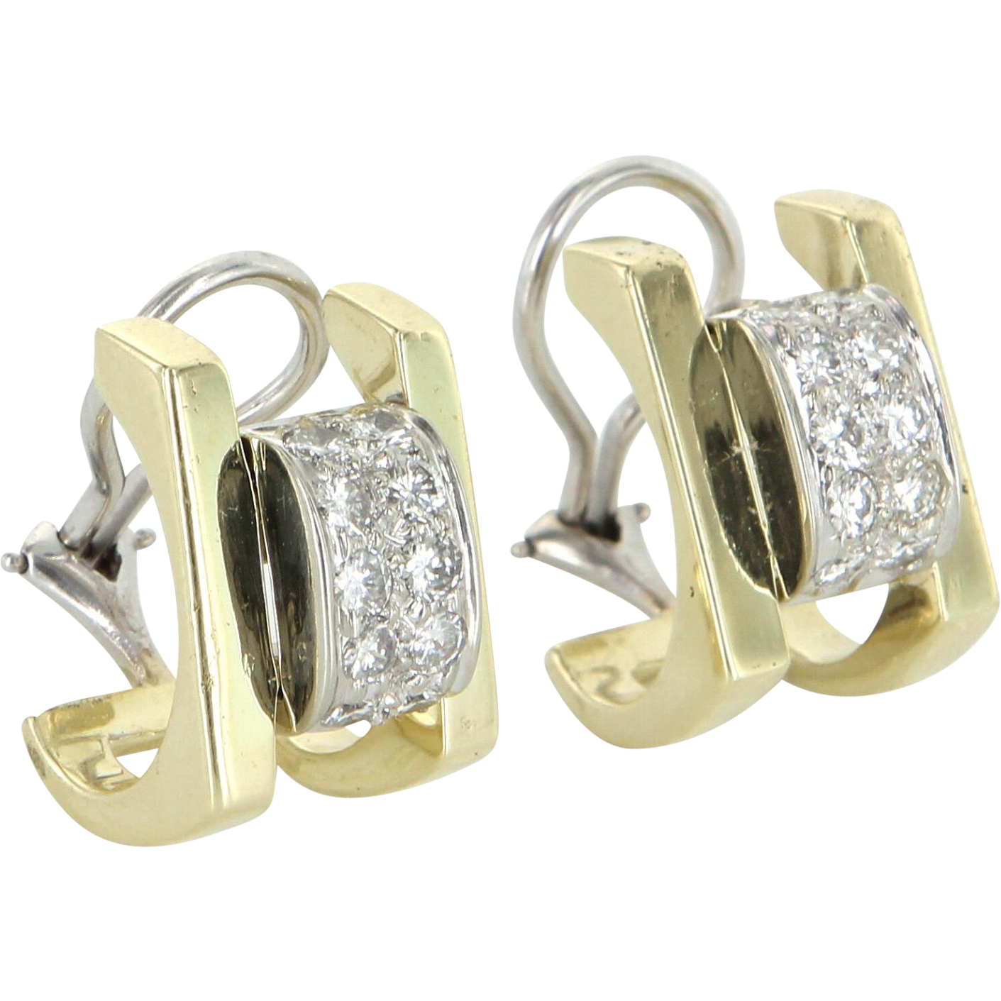 Retro Vintage 1ct Diamond Shrimp Earrings 14 Karat Yellow Gold Estate Fine Jewelry