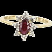 Ruby Diamond Vintage Princess Small Cocktail Ring 10 Karat Yellow Gold Jewelry 6.75