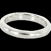 Tiffany & Co Sz 6.5 3mm 950 Platinum Milgrain Wedding Band Ring Vintage Fine