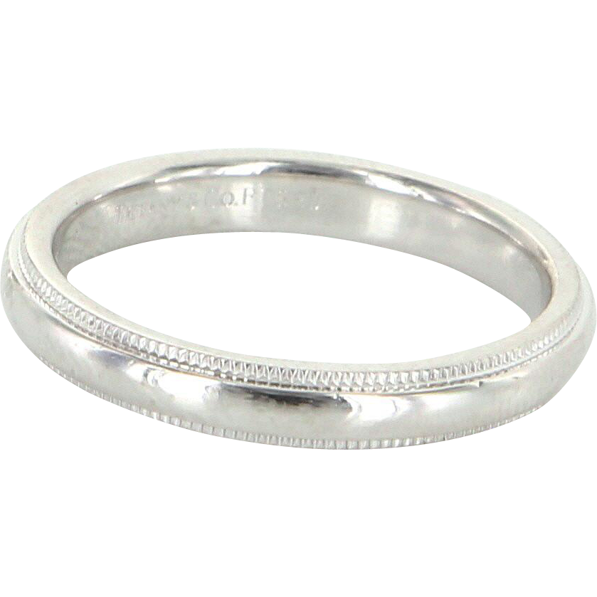 Tiffany & Co Sz 6.5 3mm 950 Platinum Milgrain Wedding Band Ring Vintage Fine