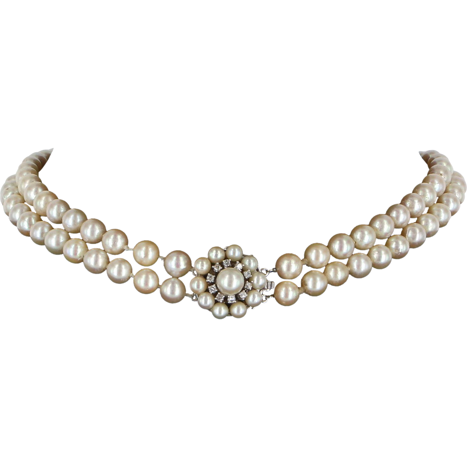 "Vintage Pearl Choker Necklace: Vintage Double Strand Pearl Diamond 15"" Choker Necklace 14"