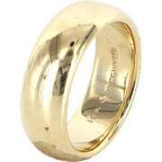 Tiffany & Co Vintage 14 Karat Yellow Gold Wide 7mm Wedding Band Ring Estate Signed Jewelry