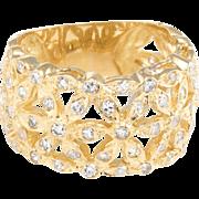 Diamond Flower Wide Band Cigar Ring Vintage 18 Karat Yellow Gold Estate Jewelry 7.5