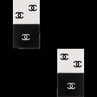 Chanel Vintage Domino Quad Earrings Black White Lucite Estate Designer Jewelry
