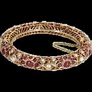 Ruby Cultured Pearl Bangle Bracelet Vintage 14 Karat Rose Gold Estate Fine Jewelry