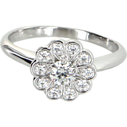Tiffany & Co Rose Diamond Flower Ring Estate 950 Platinum Signed Jewelry Sz 6