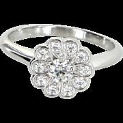 Tiffany & Co Rose Diamond Flower Ring Estate 950 Platinum Signed Jewelry Sz 6
