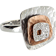 Square Diamond Cocktail Ring Estate 14 Karat White Rose Gold Vintage Jewelry Fine