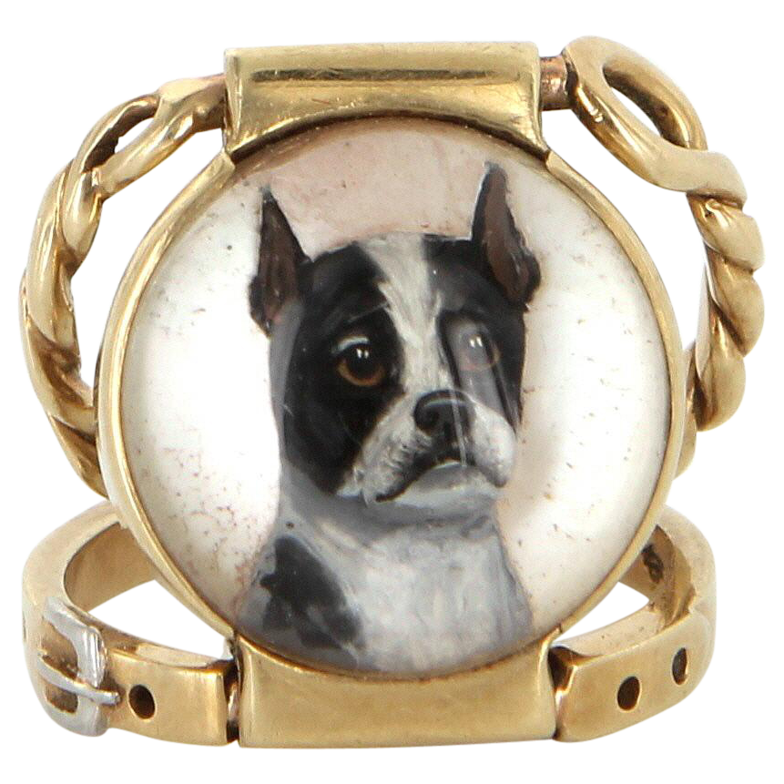 Essex Crystal Boston Terrier Double Band Ring Antique Deco 14k Gold Vintage