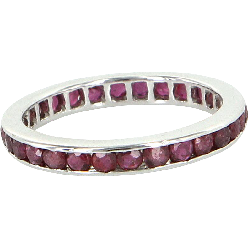 French Hallmarked Sz 6 1/2 Vintage Ruby Eternity Ring 18 Karat White Gold Estate 6.5