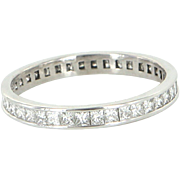 Sz 8 Estate 1.52ct Princess Cut Diamond Eternity Ring 900 Platinum Vintage Stacking