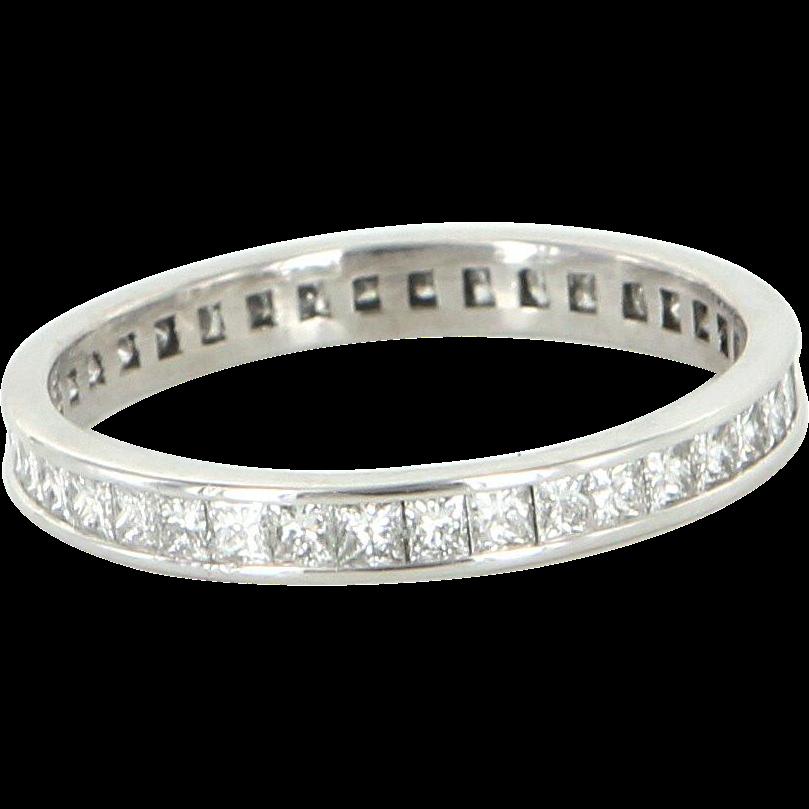 Sz 8 Estate 1.52ct Princess Cut Diamond Eternity Ring 900 Platinum Vintage Stacking