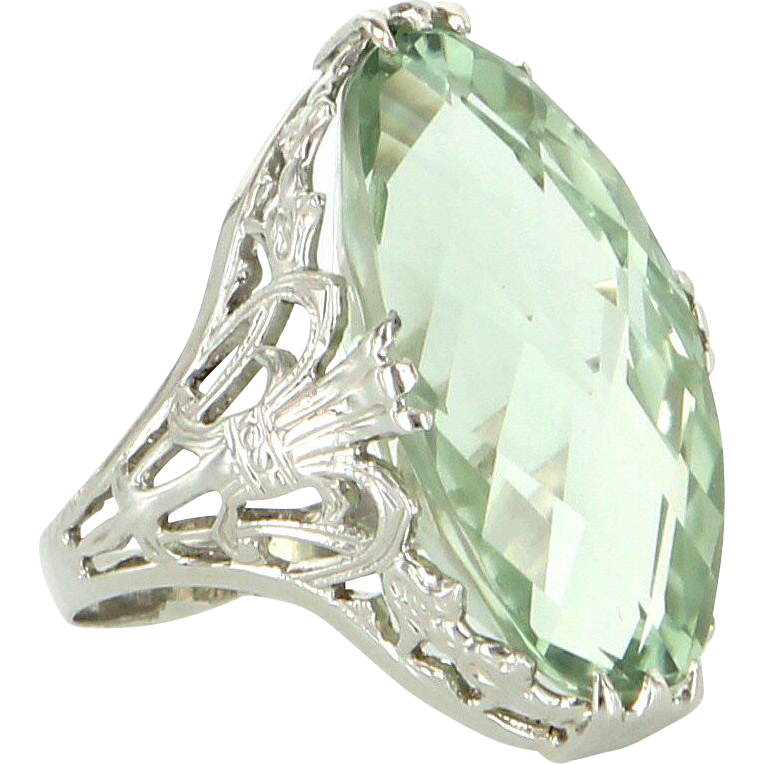 Ostby Barton Vintage Prasiolite Filigree Cocktail Ring 14 Karat White Gold Estate Jewelry