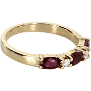 Ruby Diamond Stacking Ring Vintage 14 Karat Yellow Gold Estate Fine Jewelry Heirloom