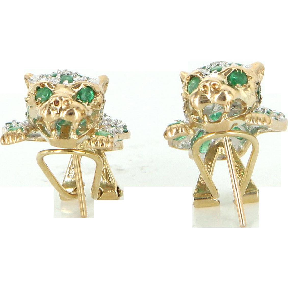 Leopard cat earrings vintage emerald diamond 14 karat gold for 14 karats fine jewelry
