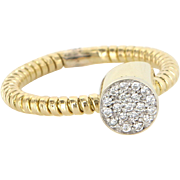 Retro Pave Diamond Vintage Cocktail Ring 14 Karat Gold Estate Fine Jewelry Sz 8.25