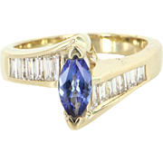 Tanzanite Diamond Ring Vintage 14 Karat Yellow Gold Estate Fine Jewelry Heirloom