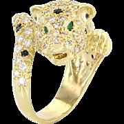 French Hallmarked Leopard Cat Ring Diamond Emerald Vintage 18 Karat Gold Animal