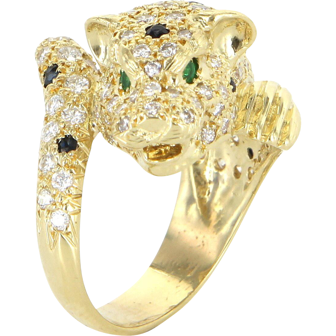 French Hallmarked Leopard Cat Ring Diamond Emerald Vintage 18 Karat Gold Animal