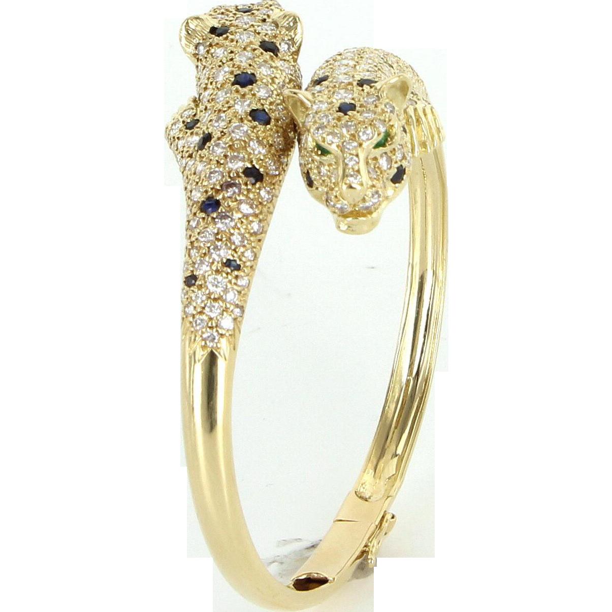 French Hallmarked Leopard Cat 18 Karat Gold Vintage Bangle Bracelet Animal Jewelry