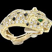 French Hallmarked Leopard Cat 4ct Diamond Earrings Vintage 18 Karat Gold Animal