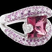 Pink Tourmaline Diamond Cocktail Ring Vintage 18 Karat White Gold Estate Jewelry