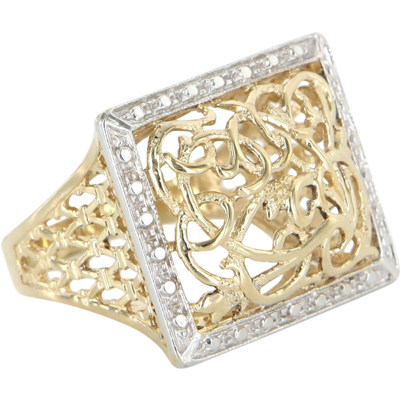 Square Filigree Cocktail Ring Vintage 14 Karat Yellow Gold Estate Jewelry Pre Owned