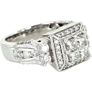 1.22ct Square Diamond Ring Vintage 14 Karat White Gold Estate Fine Jewelry Bridal