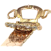 Belt Buckle Ring Retro Vintage 14 Karat Rose Gold Diamond Estate Fine Jewelry