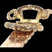 Belt Buckle Ring Retro Vintage 14 Karat Rose Gold Diamond Estate Fine Jewelry