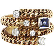 Vintage Diamond French Cut Sapphire Wide Band Ring 14 Karat Yellow Gold Estate 7.5