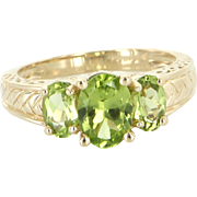 Three Stone Peridot Ring Vintage 14 Karat Yellow Gold Estate Fine Jewelry Heirloom 7