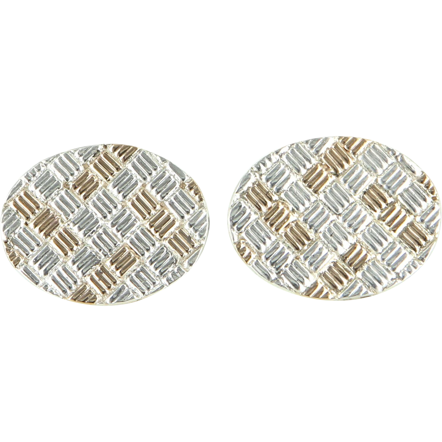 Tiffany & Co Mens 925 Sterling Silver 14 Karat Gold Vintage Cufflinks Mens Fine Jewelry Heirloom
