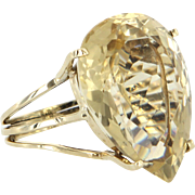 25ct Lemon Quartz Large Cocktail Ring Vintage 14 Karat Gold Estate Fine Jewelry 6.75