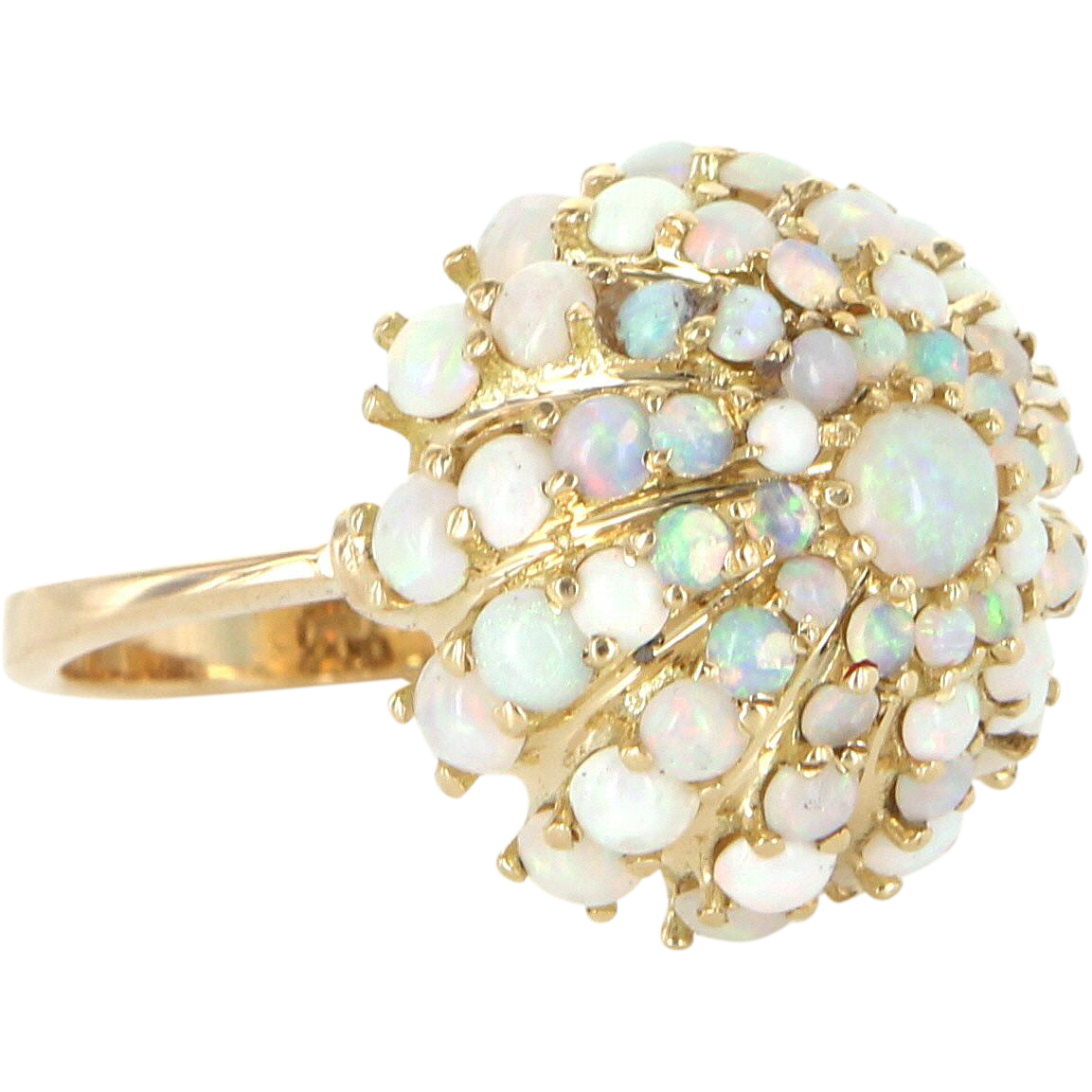 Opal Dome Cocktail Ring Vintage 18 Karat Yellow Gold Estate Fine Jewelry Heirloom 6.5