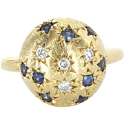 Diamond Sapphire Vintage Ball Pinky Ring 18 Karat Yellow Gold Estate Fine Jewelry